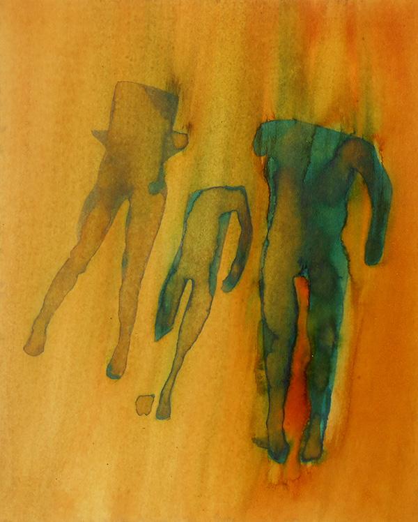 Figures II,  ink on board, 20 x 16 cm