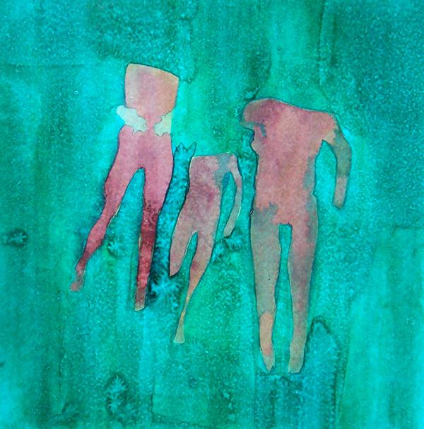 Figures III,  ink on board, 21 x 20 cm