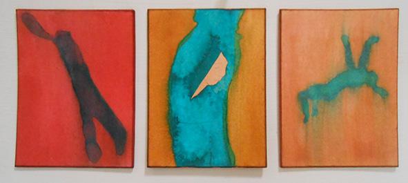 Triptych,  ink on board, 10 x 24 cm