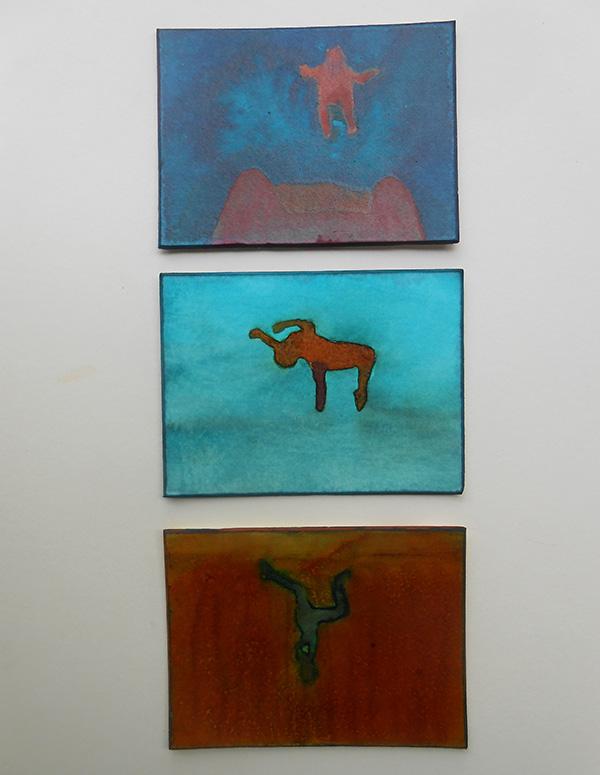Triptych II,  ink on board, 24 x 10 cm