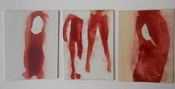 Triptych III,  ink on board, 10 x 23 cm