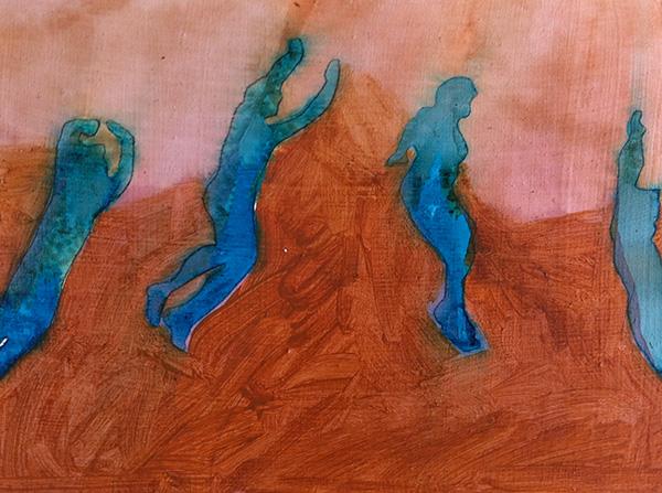 Flying Figures III 2015,  ink on board, 20 x 34 cm