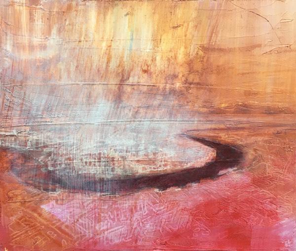 river 9 2017 , oil on board, 18 x 23cm  sold