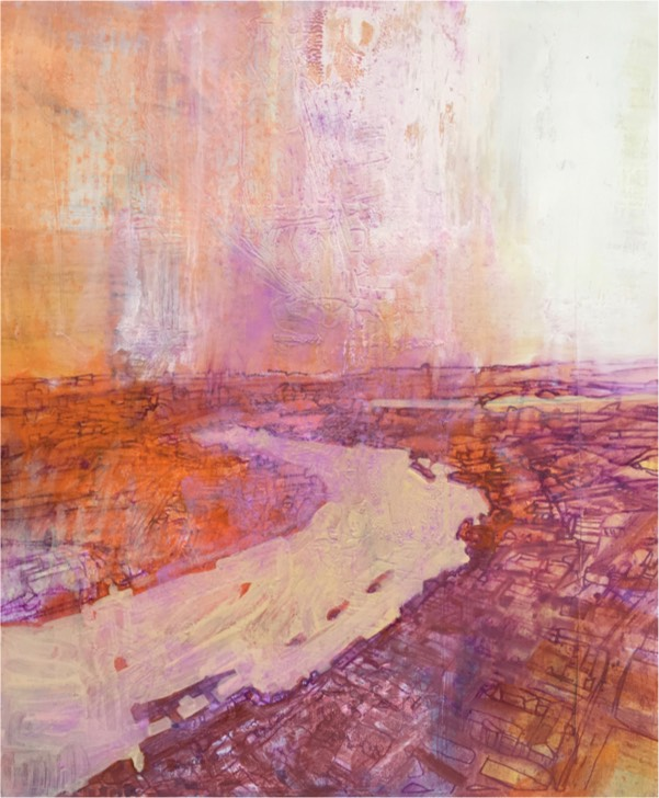 river 5 2017 , oil on board, 30 x 25.5cm  sold