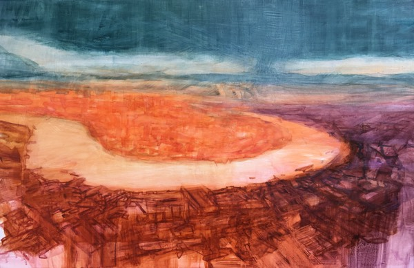 At a Bend in the River 2017 ,oil on gesso on board, 930mm x 1430mm.  Commissioned by interior designers ,Douglas Mackie Design, for a new residential development in Knightsbridge  www.douglasmackie.com
