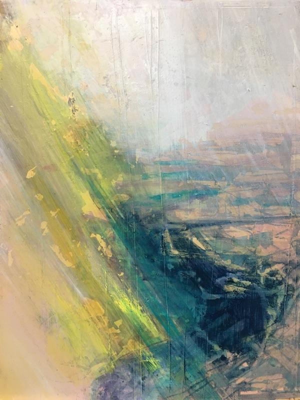 river running I 2017 , oil ad gold leaf on panel, 23 x 30cm  sold