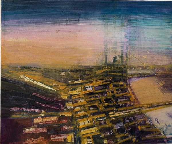 the fair faint towers of London , oil and gold leaf on panel, 25.5 x 30.5cm