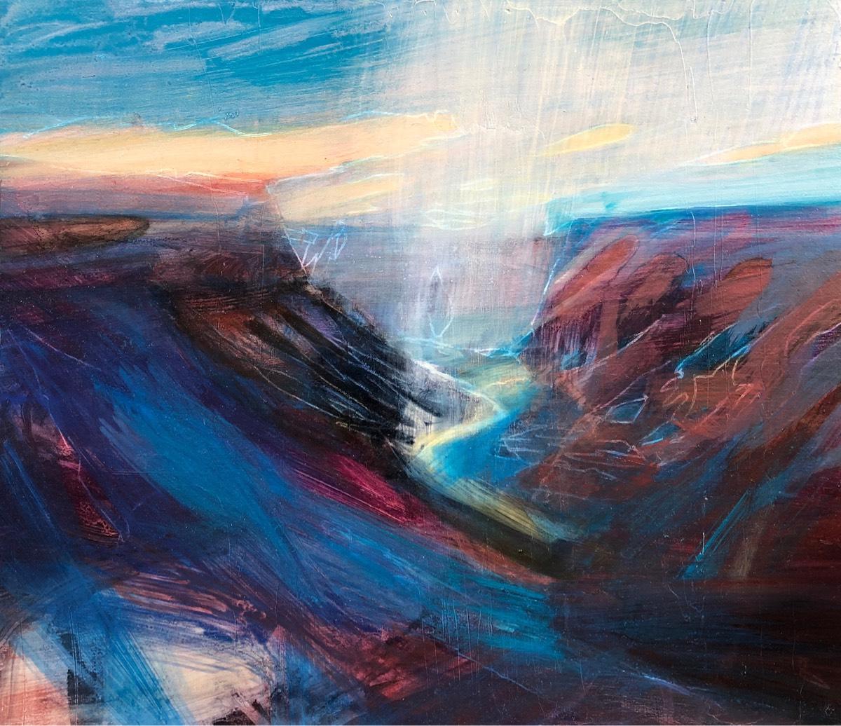 Flashing Waters Run 2019 , oil on panel, 30 x 35cm