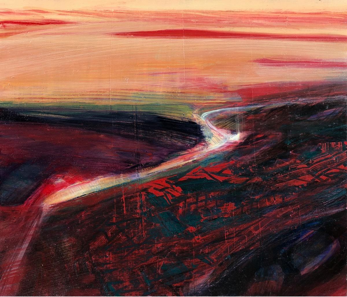 Crimson Shaded Evening 2019 , oil on panel, 30 x 35cm