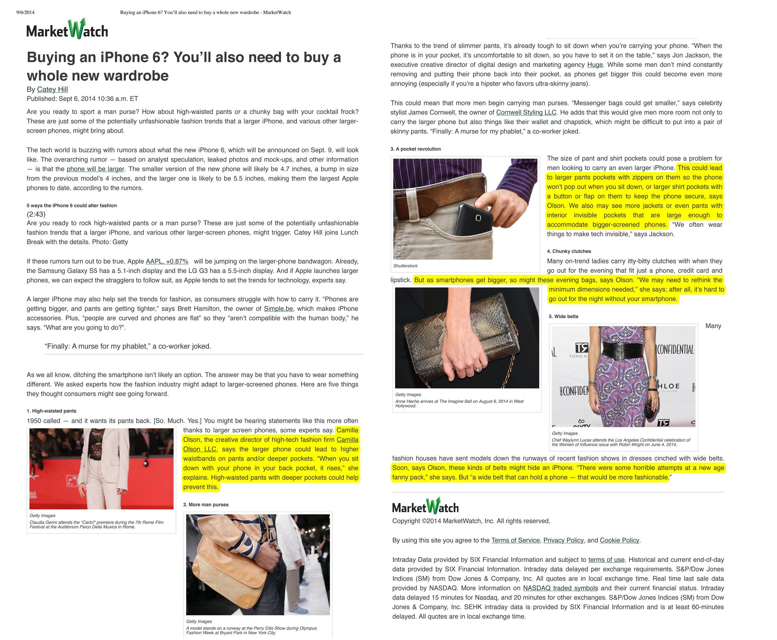 WSJ MarketWatch 9-5-14 Pending Apple Announcement Impacts Fashion