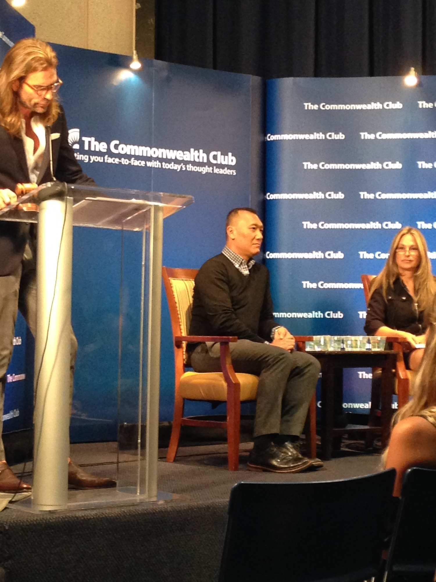 Joe Zee, seated, was interviewed by Carolyne Zinko of the San Francisco Chronicle at The Commonwealth Club on Monday Sept 22, 2014.