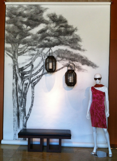 With Julie Jomo's advice, we asked local artist,  Darren Kerr , to prepare a backdrop for our spring designs. Using charcoal, he drew a cypress tree on photography paper. We added the lanterns and our one-shoulder sheath.