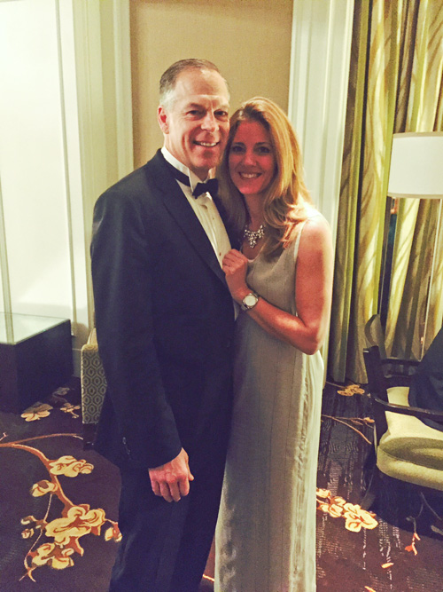 Karen Appleton, SVP Box, with Andy Page, President 23andme, at the 2015 Healthcare Ball; Karen wears a custom Camilla Olson gown  .