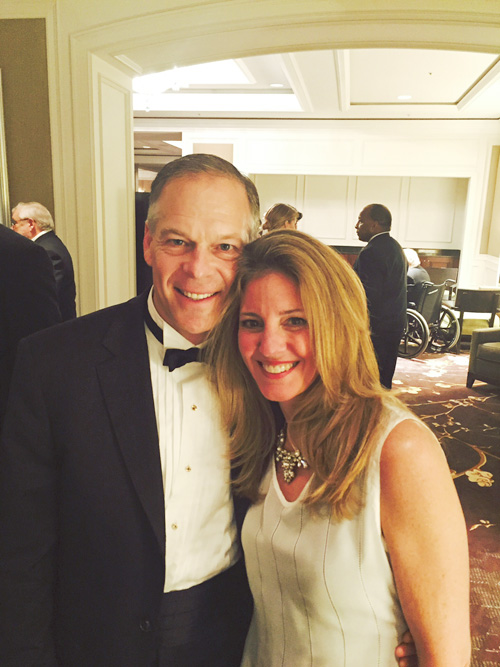 Karen Appleton, SVP Box, with Andy Page, President 23andme, at the 2015 Healthcare Ball; Karen wears a custom Camilla Olson gown. Close-up.