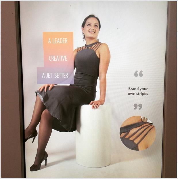 Frances Holuba wearing Camilla Olson GW Textile Museum Billboard.jpg