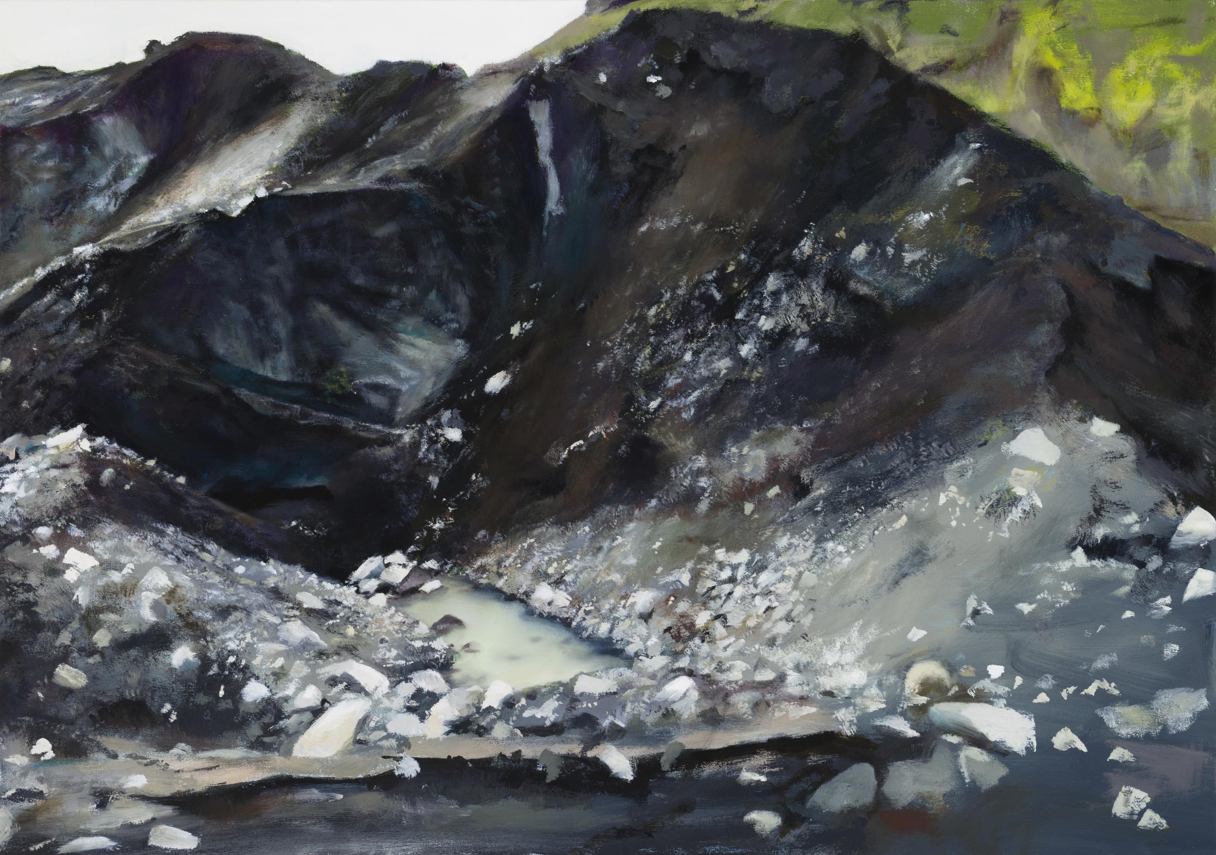 """moraine pool   24"""" x 34""""  oil on canvas  2014"""