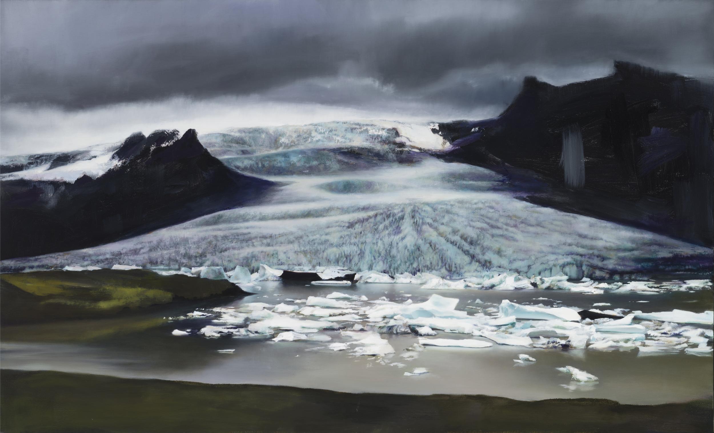 """fjallsárlón   34"""" x 56""""  oil on canvas  2014"""