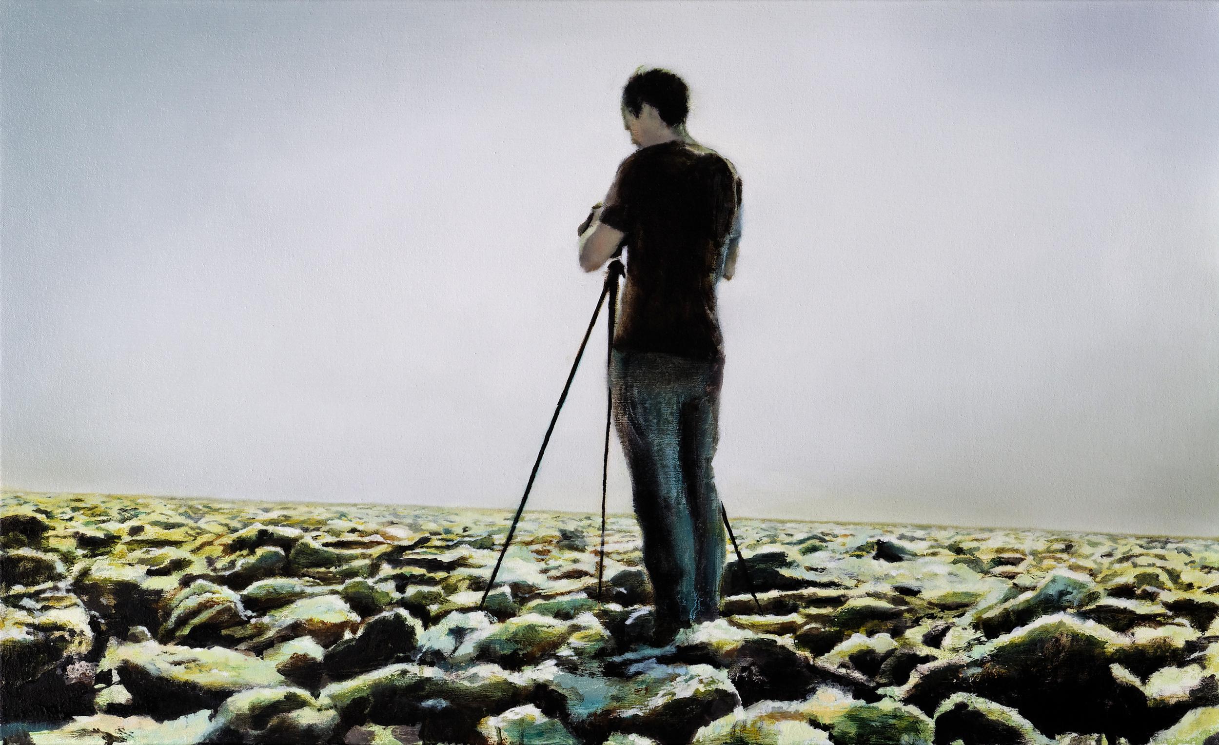 """photographer •  22"""" x 36""""  oil on canvas  2009"""