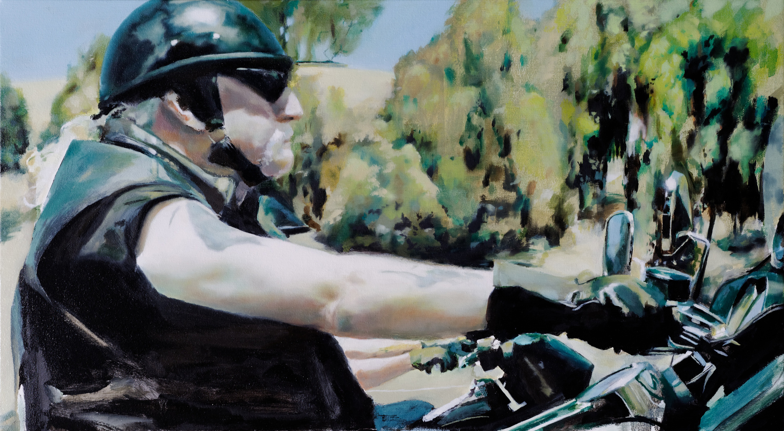"biker 2 •  22"" x 40""  oil on canvas  2009"