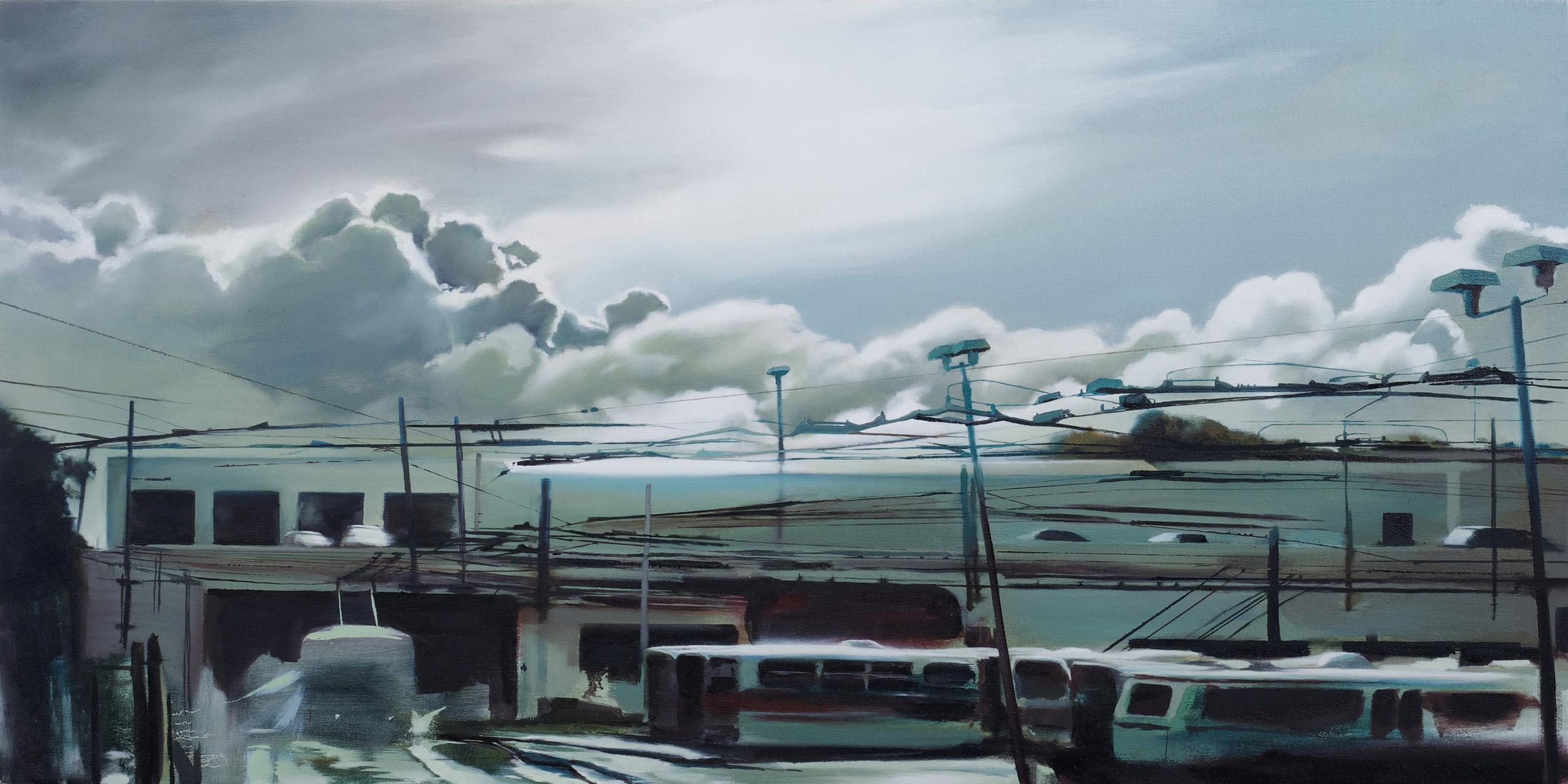 "muni depot •  27"" x 54""  oil on canvas  2009"
