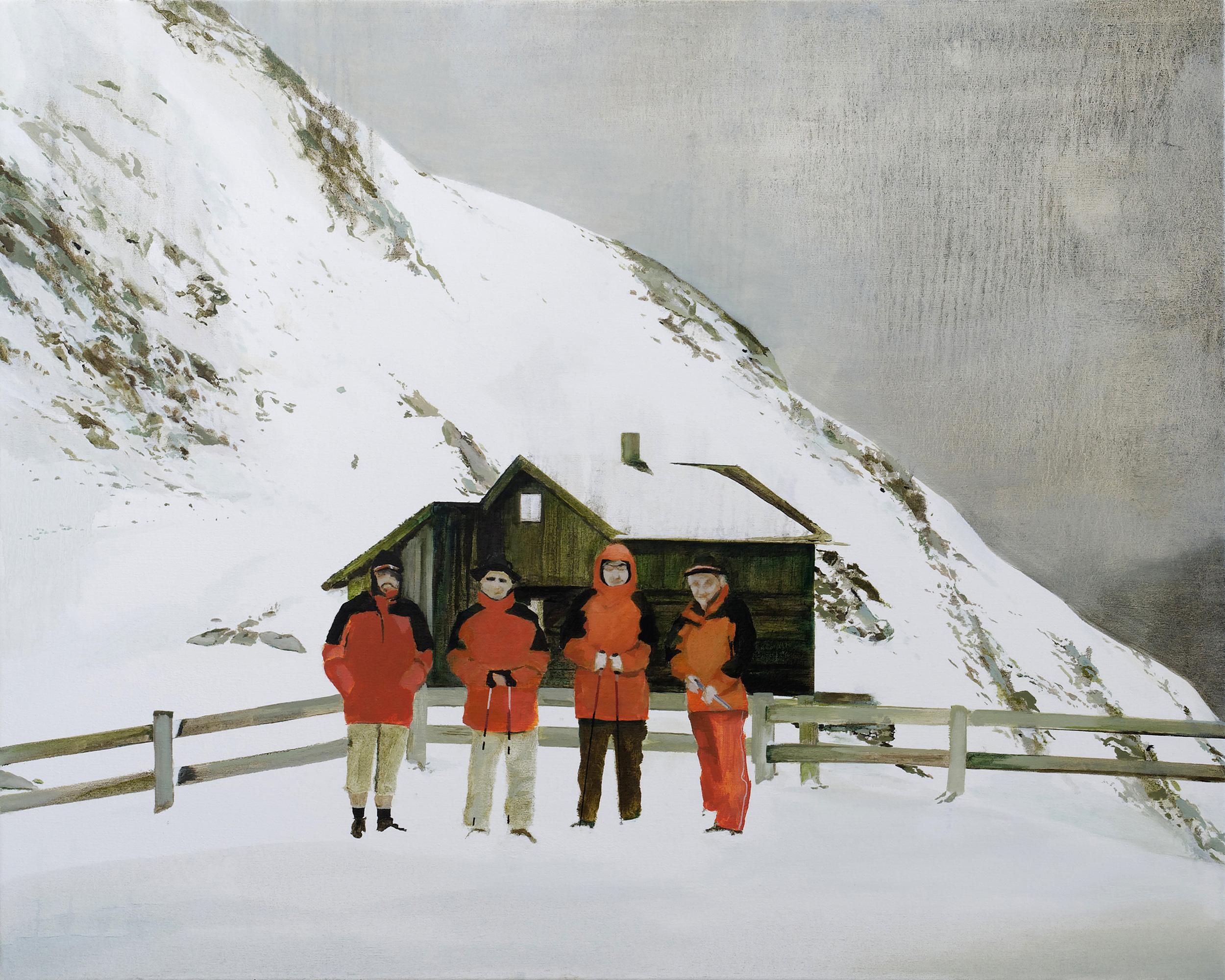 """katja's dad is on the left •  36"""" x 45""""  oil on canvas  2009"""