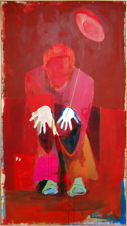 "chinese acrobat   X"" x X""  acrylic on canvas  1996"