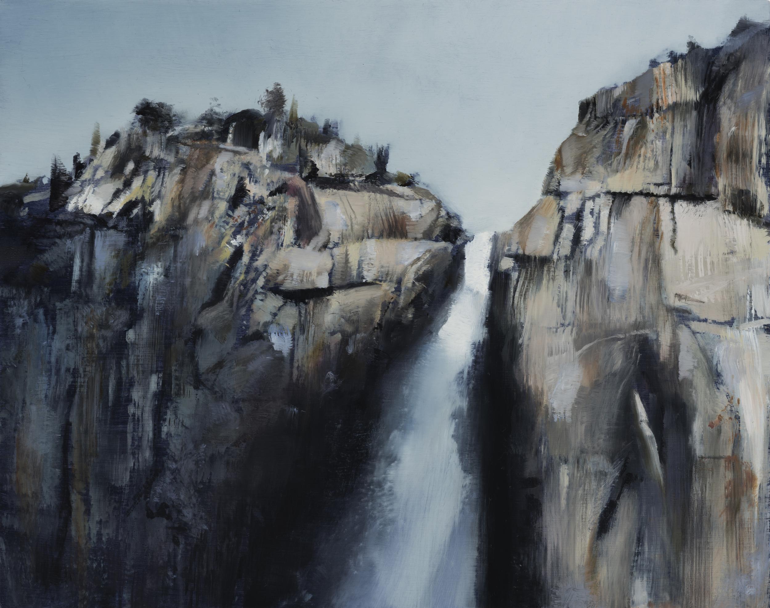 "yosemite falls study   11"" x 14""  oil on panel  2016"