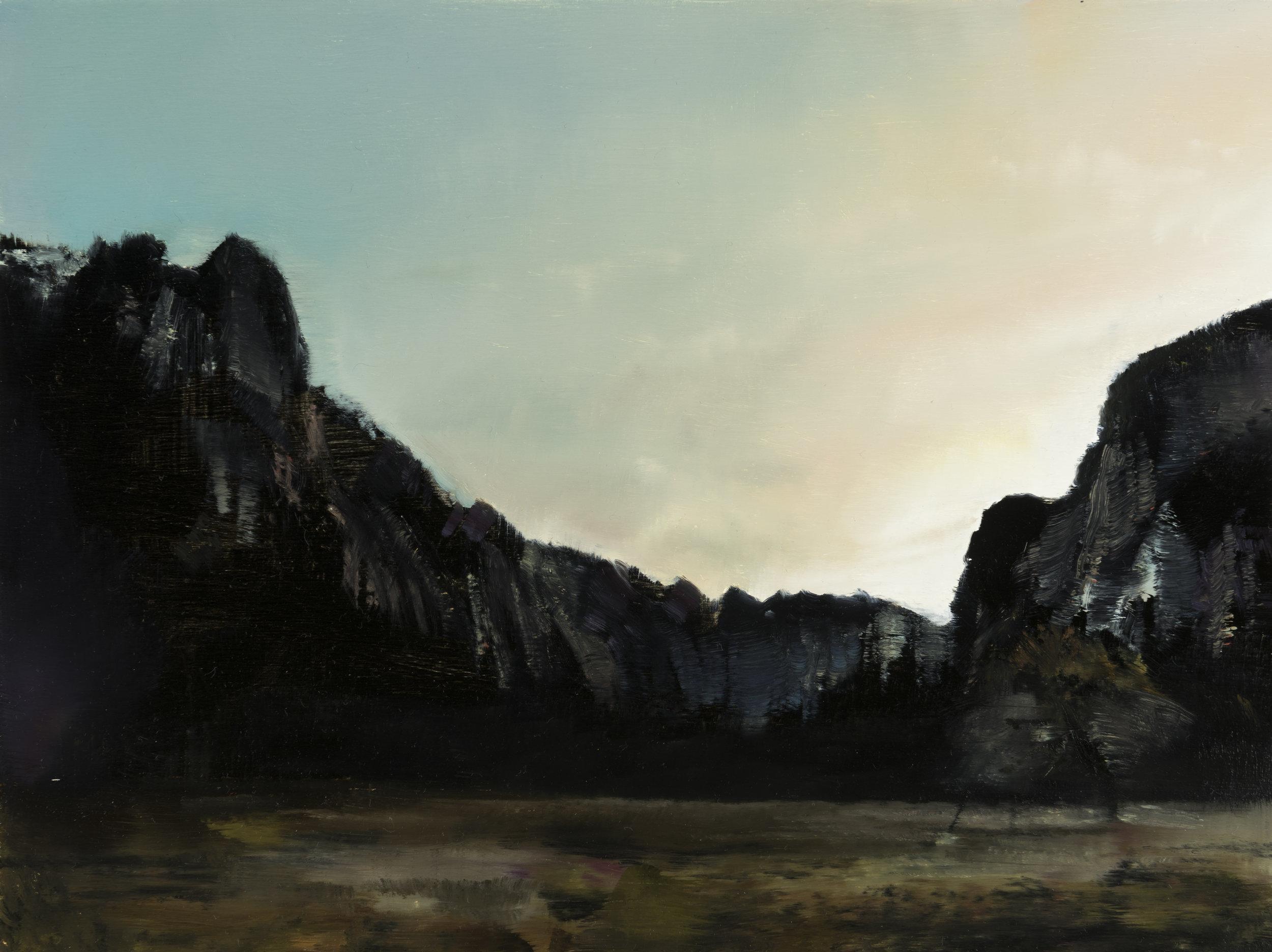 "yosemite valley 2  •  9"" x 12""  oil on panel  2016"