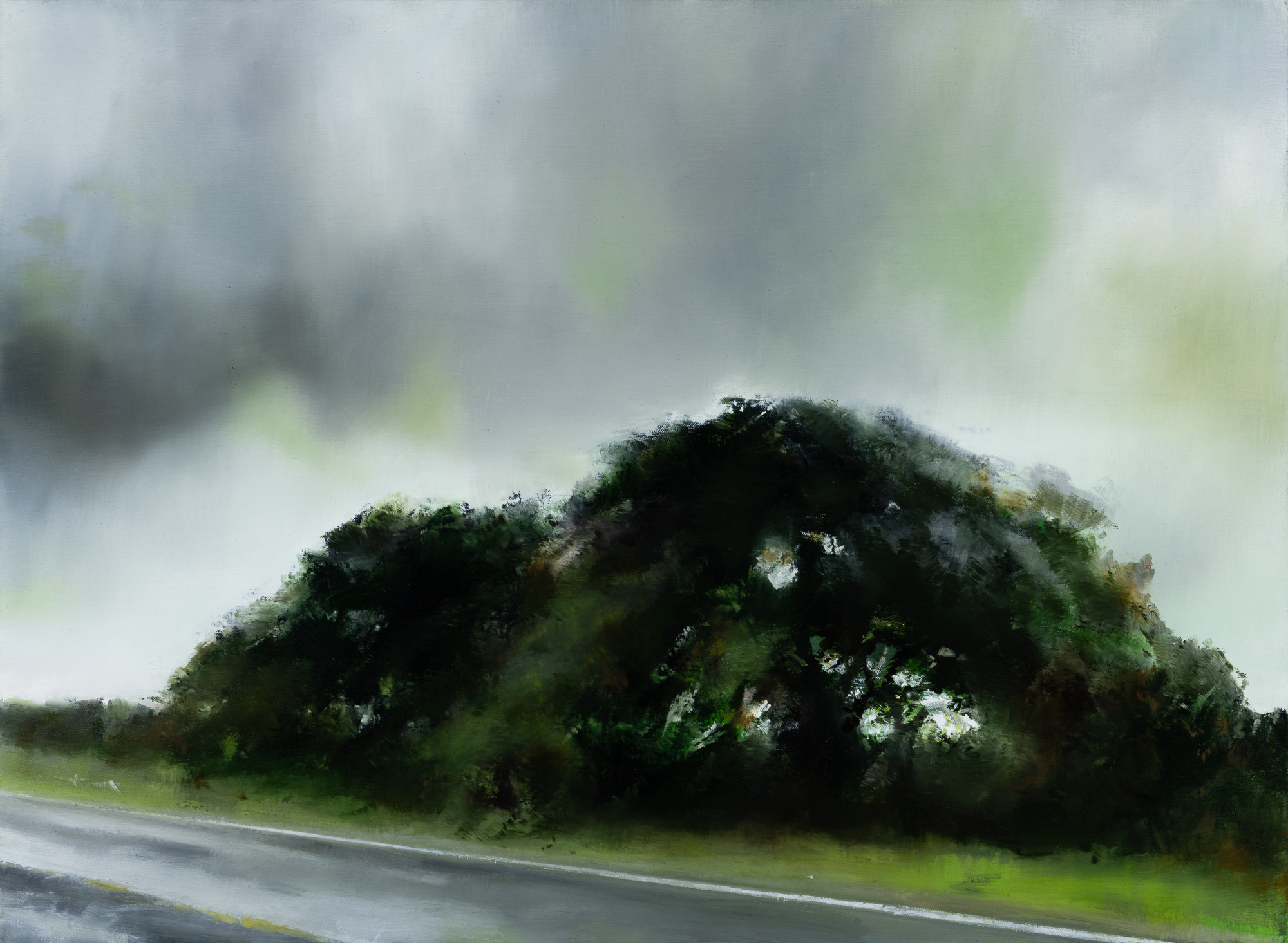 "tree storm road  •  22"" x 30""  oil on canvas  2019"