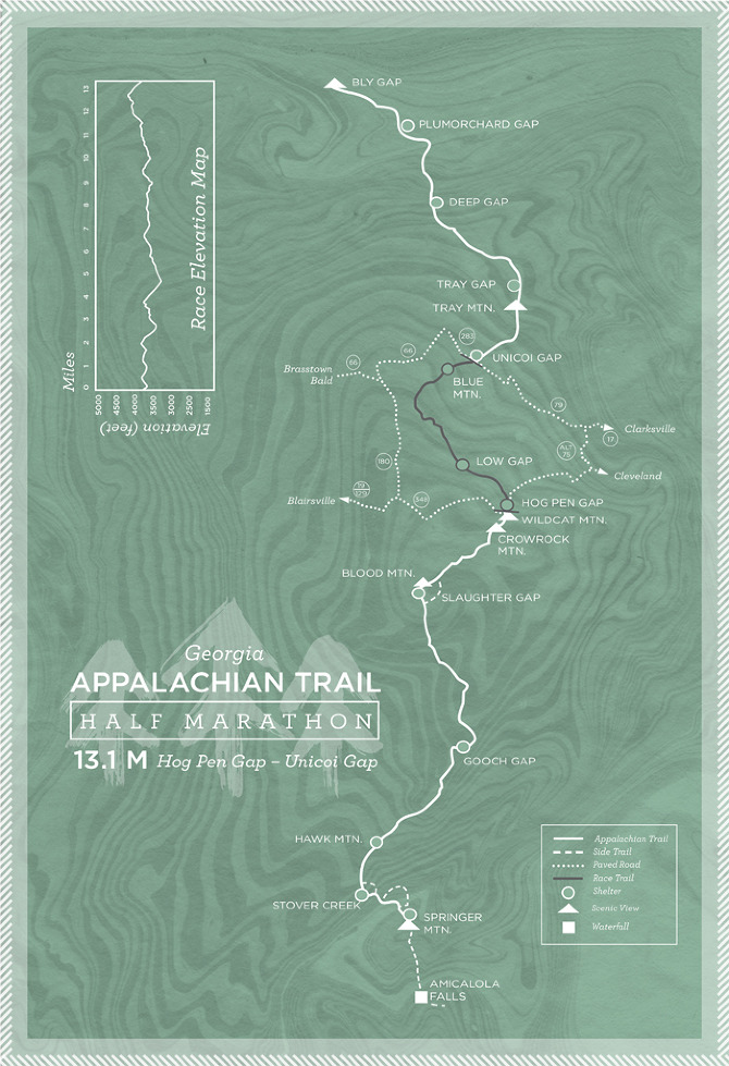 Map of a fictional race along the Appalachian Trail--made in conjunction with the National Trail System redesign