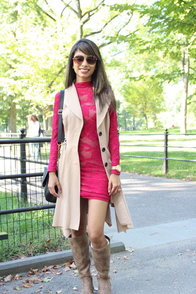 Red Dress & Trench Coat