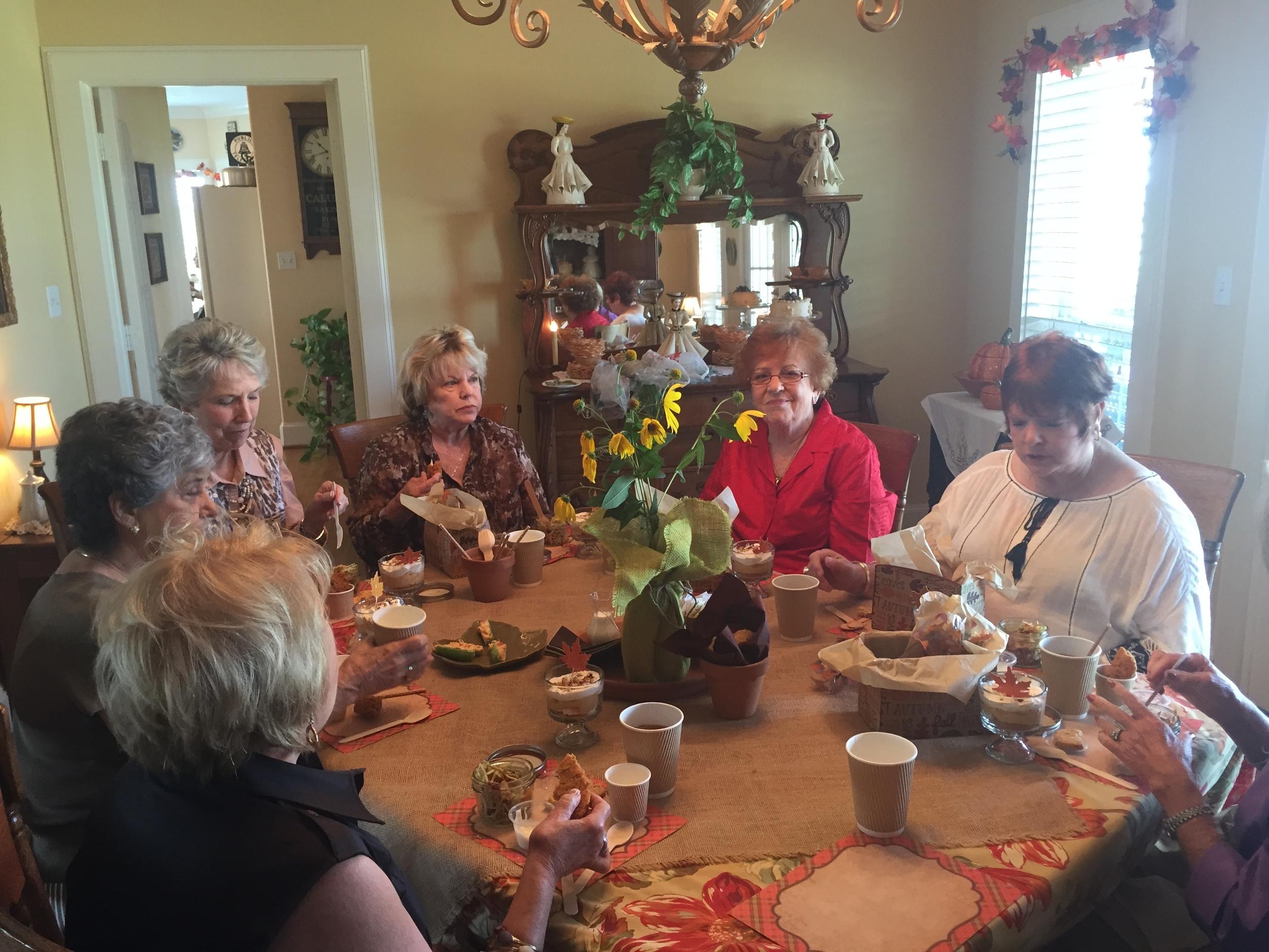 Front Left to Right: Linda Blum, Jere Longhofer, Sherry Barkman, Gail Pinto, Charleen Jones, Patsy Hermann - enjoying the picnic.