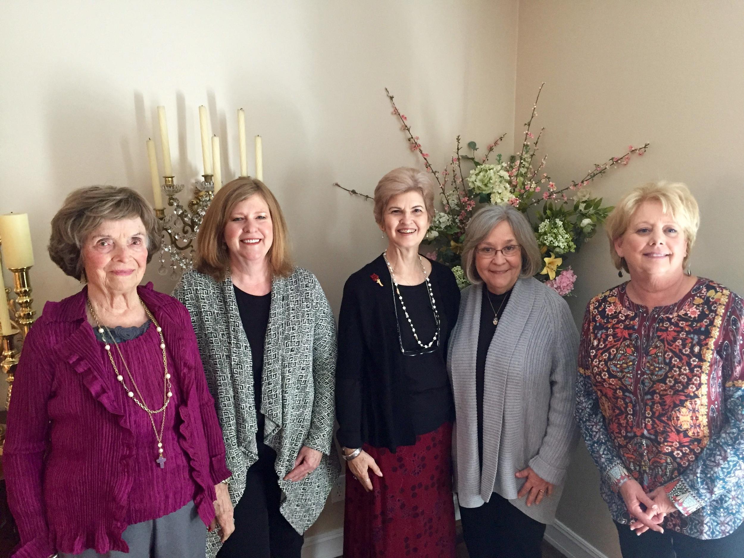 February hostesses - Dorothy Utesch, Donna Cummins, Donna Bennett, Scottie Davis and Linda Blum. Thank you ladies for a beautiful lunch!