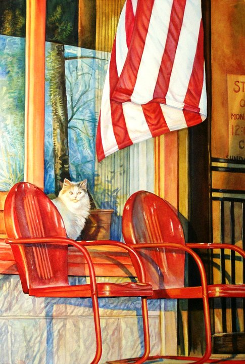 """Earl Cook's Store"" watercolor  SOLD"