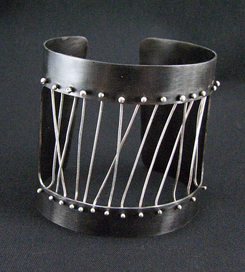 """Cuff Bracelet""  Steel and Sterling Silver"