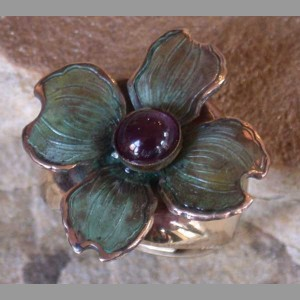 """Dogwood Ring""  Amethyst & Brass"
