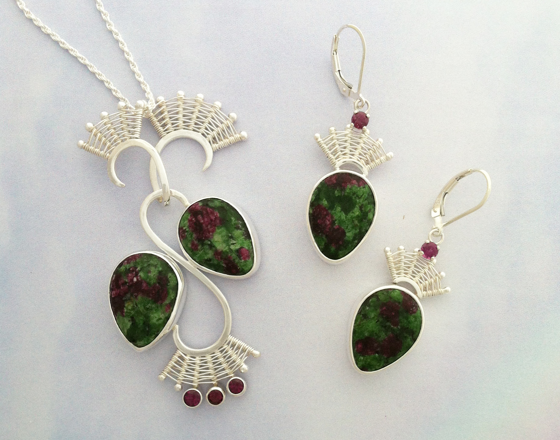Ruby in Zoisite Pendant and Earrings