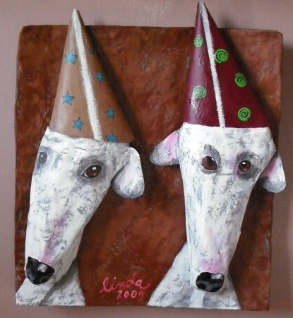 """""""Party Dogs"""" paper mache'"""