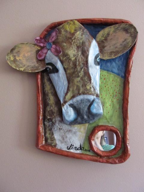 """""""Cow Love"""" paper mache'"""
