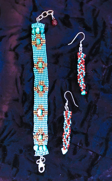 Turquoise Bracelet and earrings by Marlene Oglesby