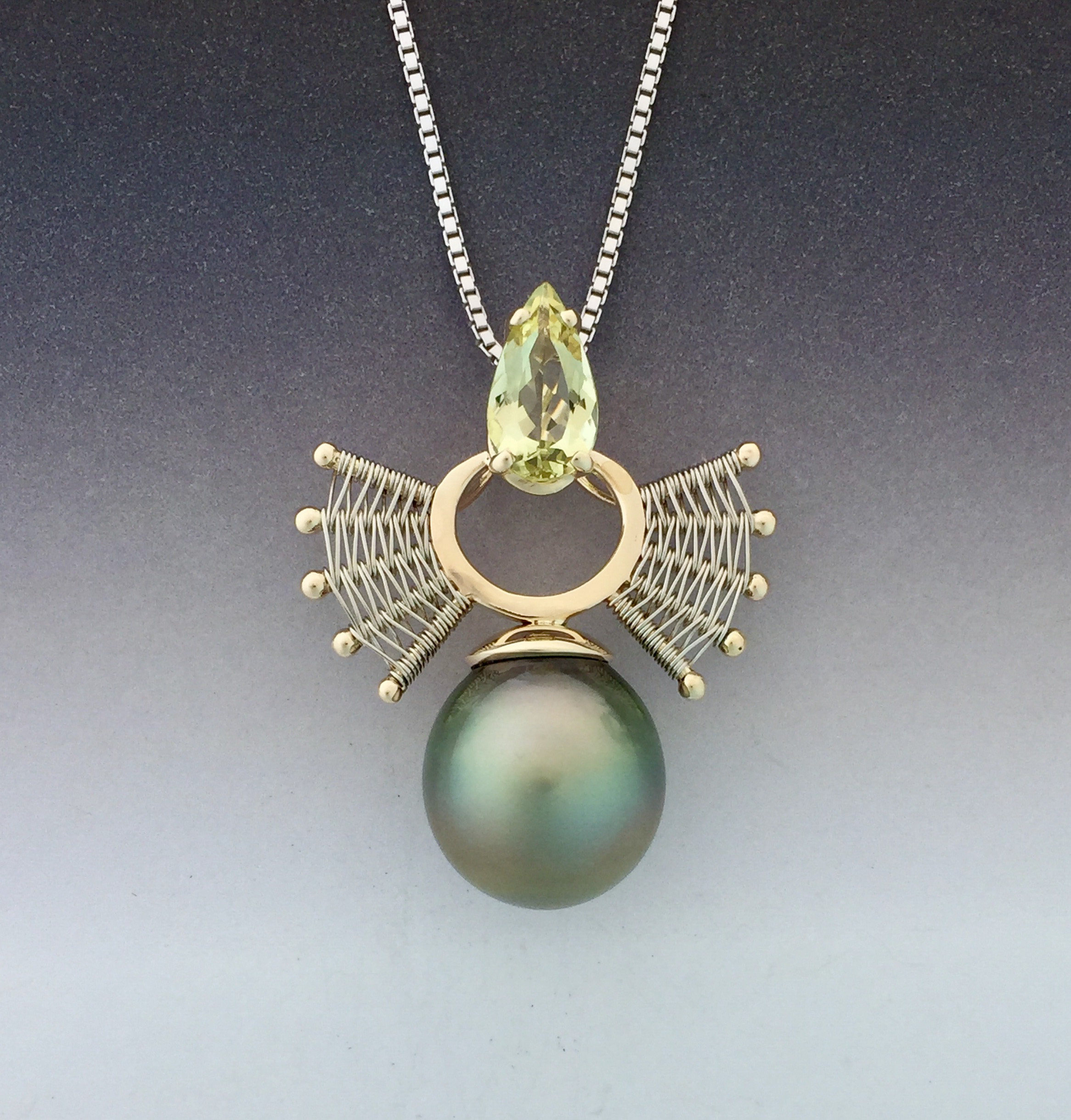 """Tahatian pearl and citrine 14kg pendant by Marie Scarpa"