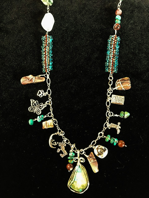 """Charming"" sterling and turquoise necklace by Marlene Oglesby"
