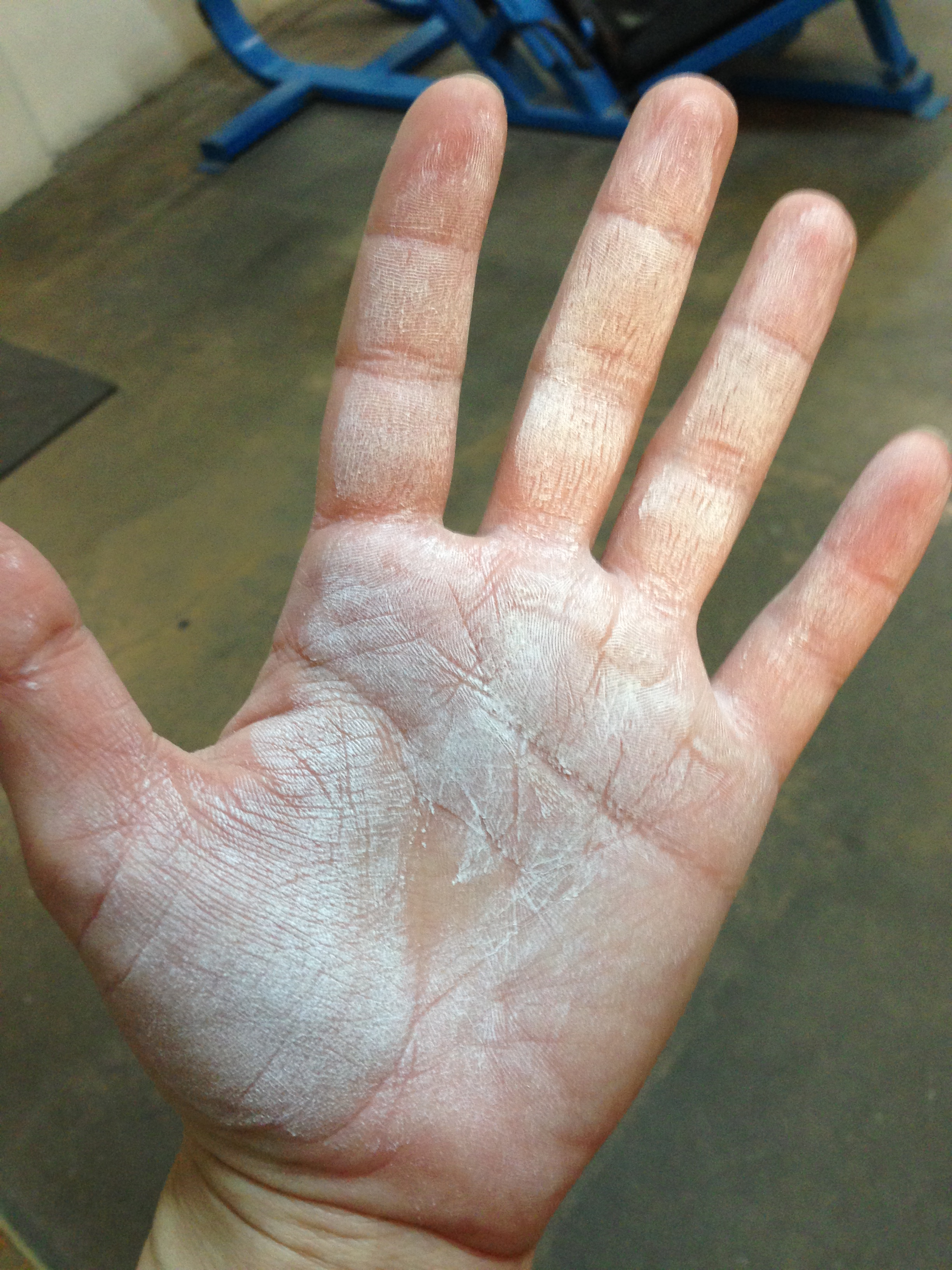 I love my callouses. At least the unchalked area makes a little heart in the middle of my palm. That's feminine, right?