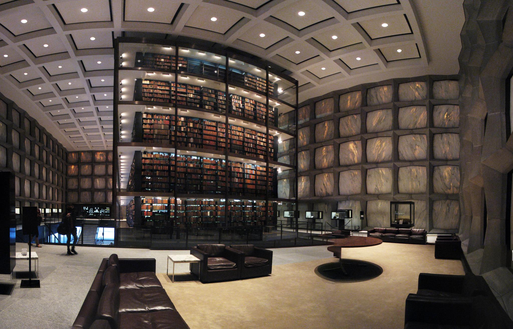 "I'm gonna need to read all these. ""Yale University's Beinecke Rare Book and Manuscript Library"" by Lauren Manning - Flickr: Yale University's Beinecke Rare Book and Manuscript Library. Licensed under CC BY 2.0 via  Wikimedia Commons ."