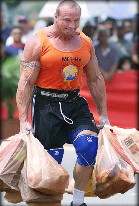 Everybody does this. But I think Mariusz Pudzianowski is probably the last person in the world who struggles with the weight ofhis groceries.