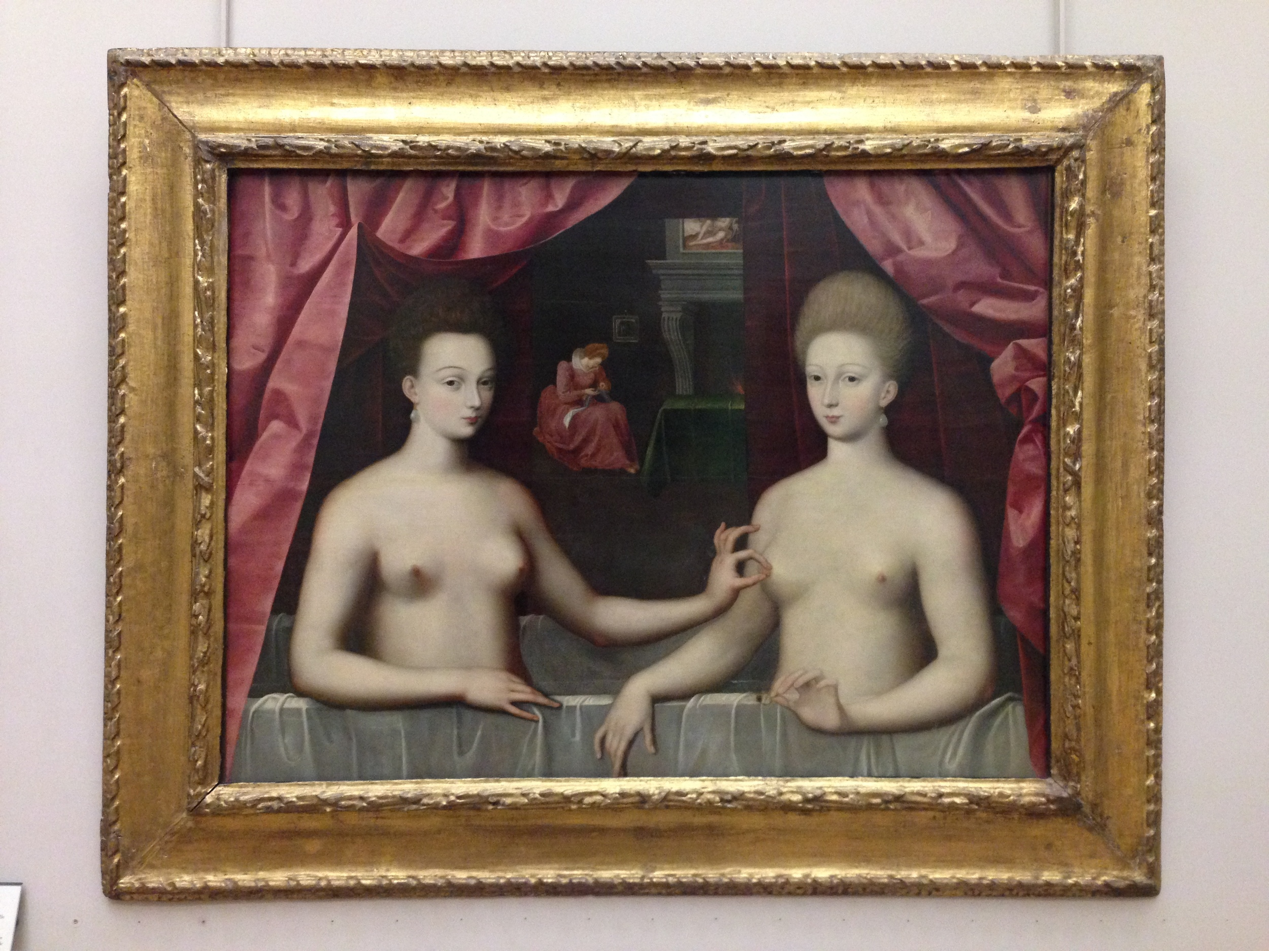 Gabrielle d'Estrées et une de ses soeurs,  which hangs in the Louvre.  Gabrielle pinches her sister's nipple, meaning her sister is pregnant. This is both funny and heartwarming at once, and I would never have seen it if I had not traveled.