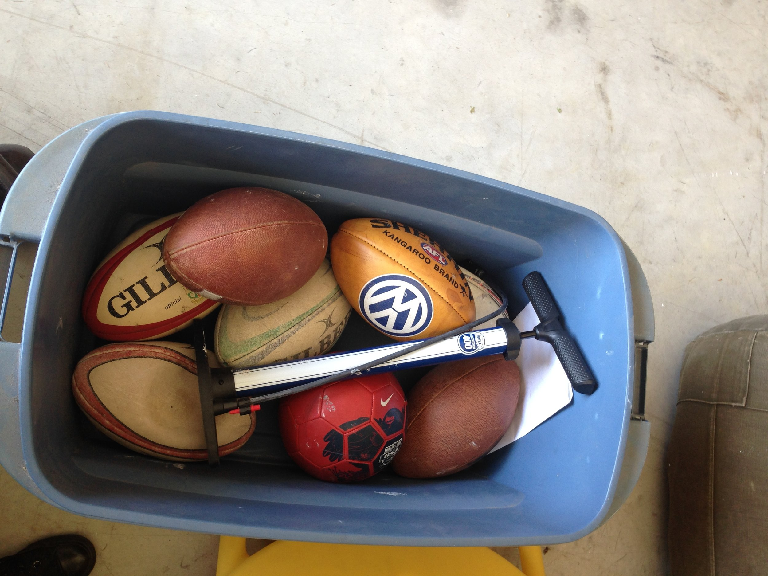 And a bucket of rugby balls.