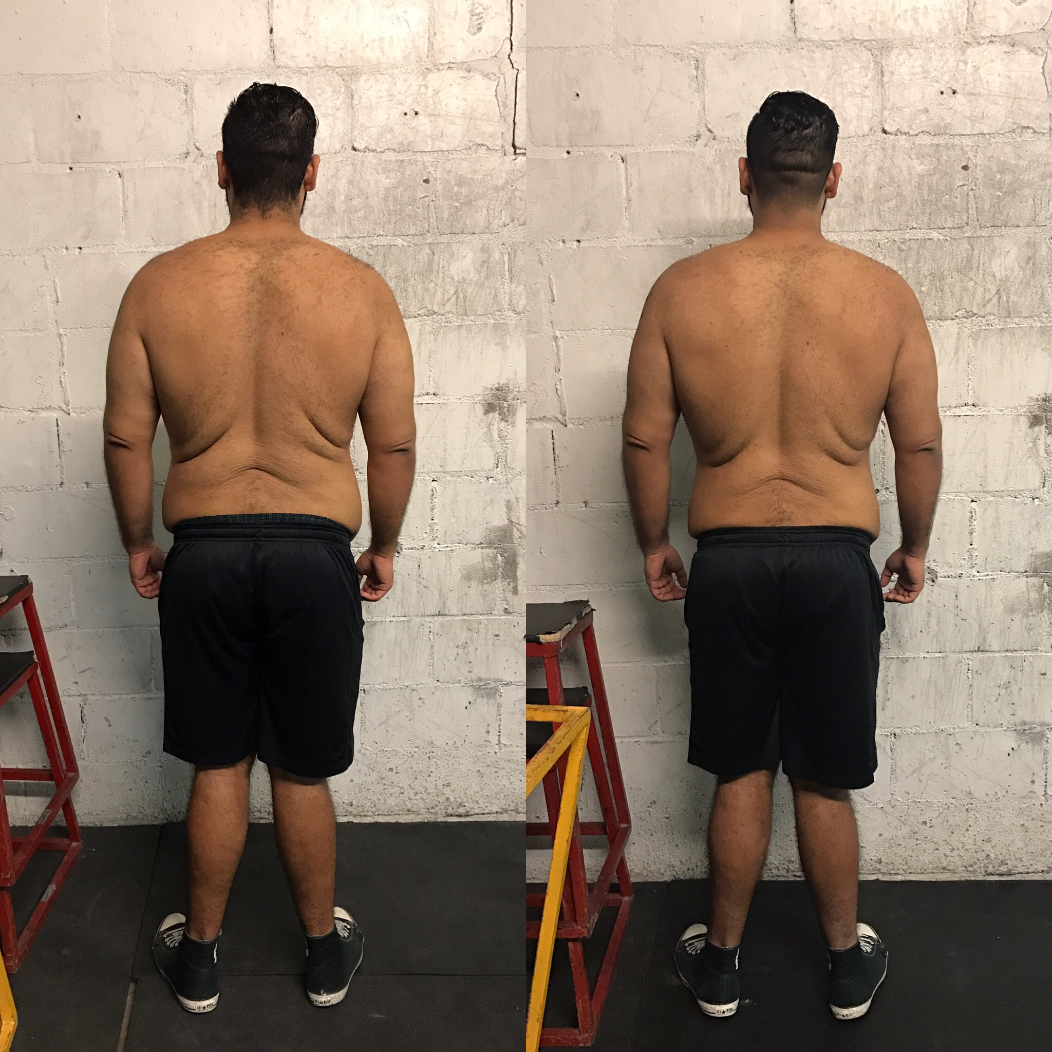 L-R, Nov. 2, 2016, Dec. 6, 2016. 15 pounds weight loss.