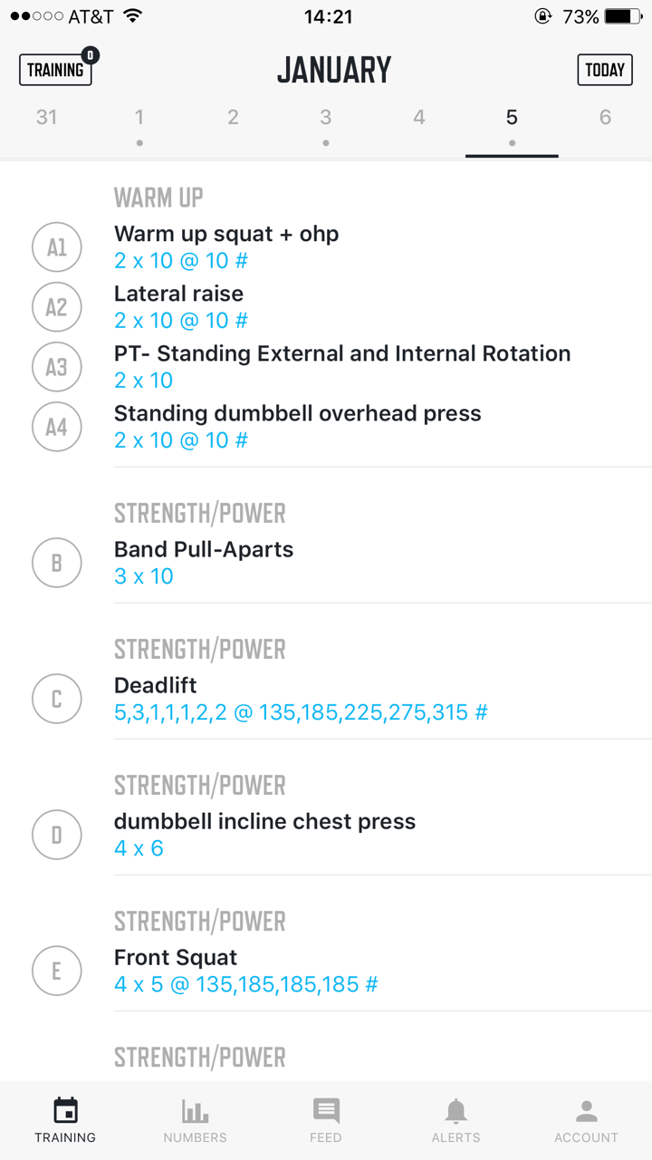 An overview of my client's deadlift day. The app includes videos of how to do the exercises, notes from previous workouts, etc.