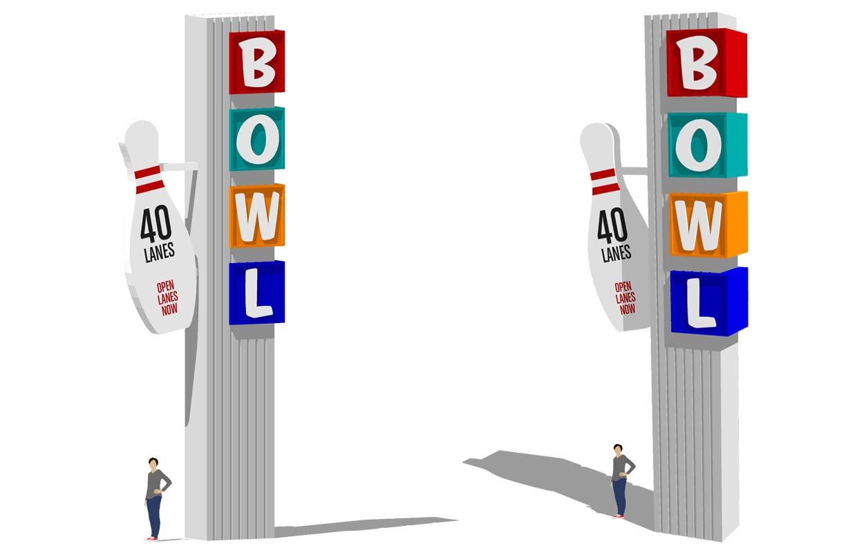 Retro Sign Series - Bowling  Created in Sketchup